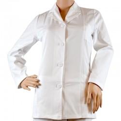 CF03 - Jacheta alba cu guler pentru femei/barbati, maneca lunga
