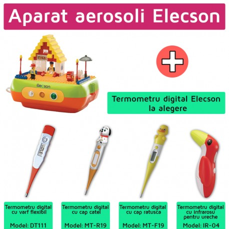 Nebulizator - Aparat aerosol Bricks Nebulizer System (EL005) + Termometru digital elecson