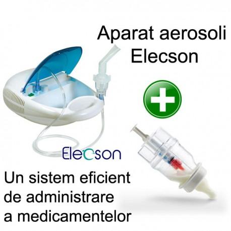 Aparat aerosol cu compresor Elecson (EL003) + Sticluta un sistem eficient de administrare a medicamentelor