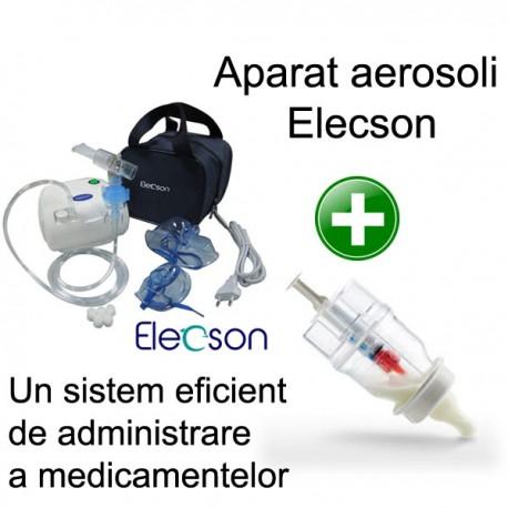 Nebulizator - Aparat aerosol cu compresor Elecson (EL116) + Sticluta un sistem eficient de administrare a medicamentelor